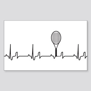 Tennis Heartbeat Sticker (Rectangle)